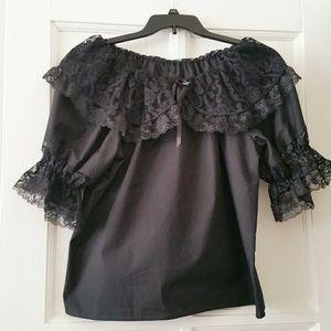 Vtg. Black Lace Peasant Top